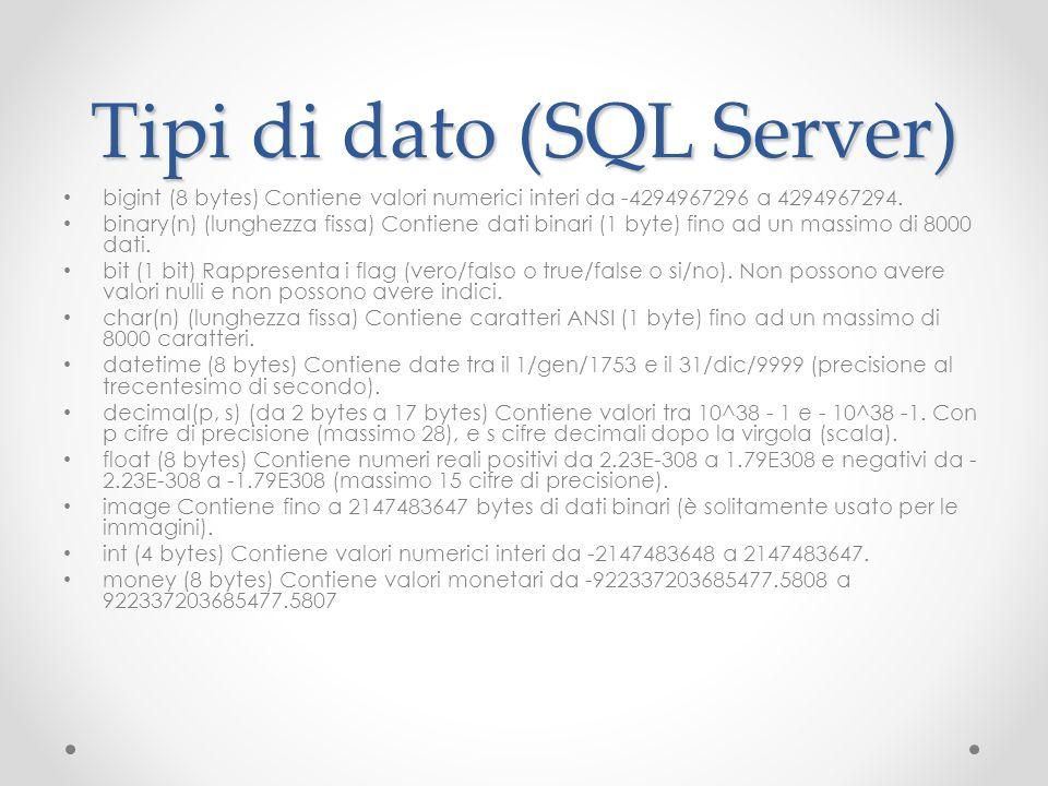 Tipi di dato (SQL Server) bigint (8 bytes) Contiene valori numerici interi da -4294967296 a 4294967294. binary(n) (lunghezza fissa) Contiene dati bina