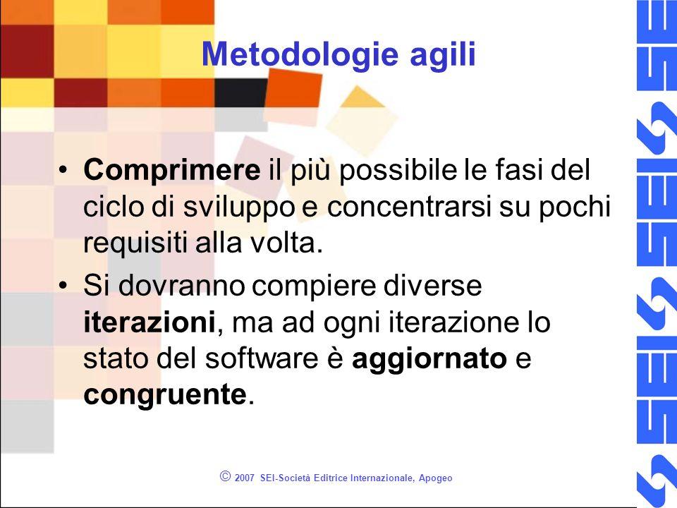 © 2007 SEI-Società Editrice Internazionale, Apogeo Metodologie agili Comprimere il più possibile le fasi del ciclo di sviluppo e concentrarsi su pochi requisiti alla volta.