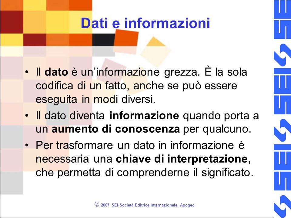 © 2007 SEI-Società Editrice Internazionale, Apogeo Dati e informazioni Il dato è uninformazione grezza.