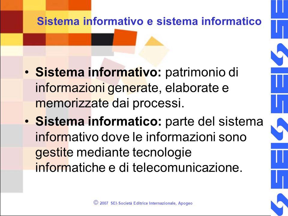 © 2007 SEI-Società Editrice Internazionale, Apogeo Sistema informativo e sistema informatico Sistema informativo: patrimonio di informazioni generate, elaborate e memorizzate dai processi.