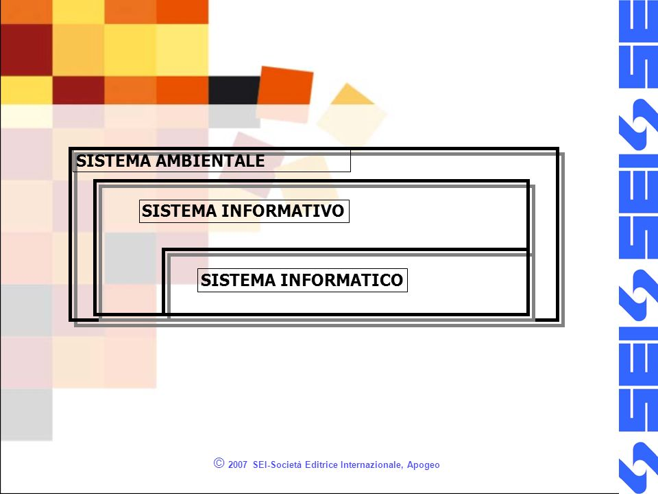 © 2007 SEI-Società Editrice Internazionale, Apogeo SISTEMA AMBIENTALE SISTEMA INFORMATIVO SISTEMA INFORMATICO