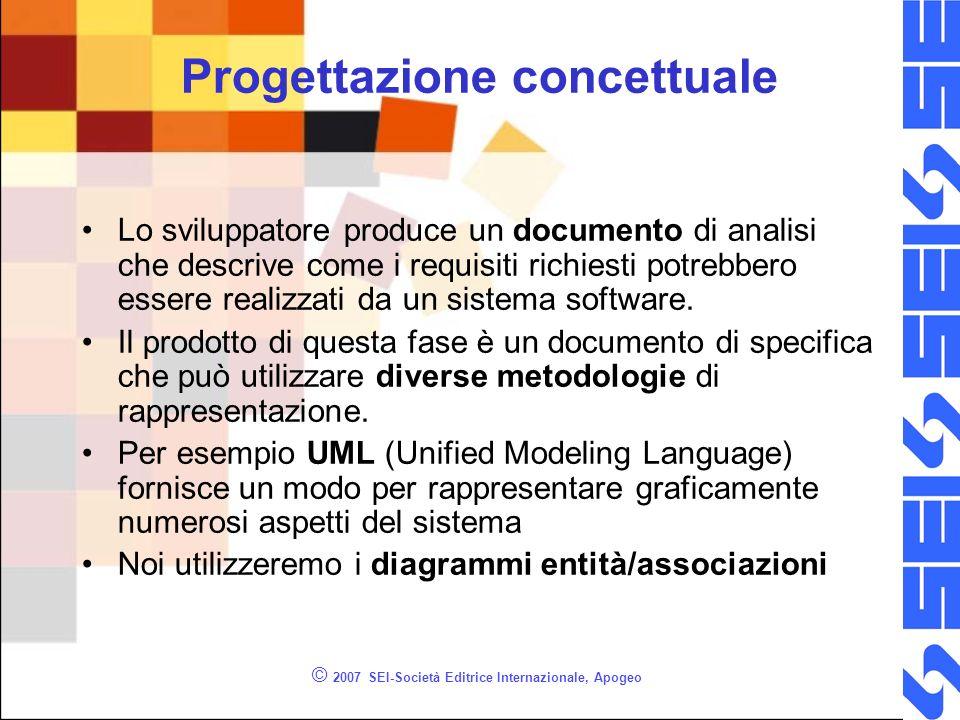 © 2007 SEI-Società Editrice Internazionale, Apogeo Progettazione concettuale Lo sviluppatore produce un documento di analisi che descrive come i requisiti richiesti potrebbero essere realizzati da un sistema software.