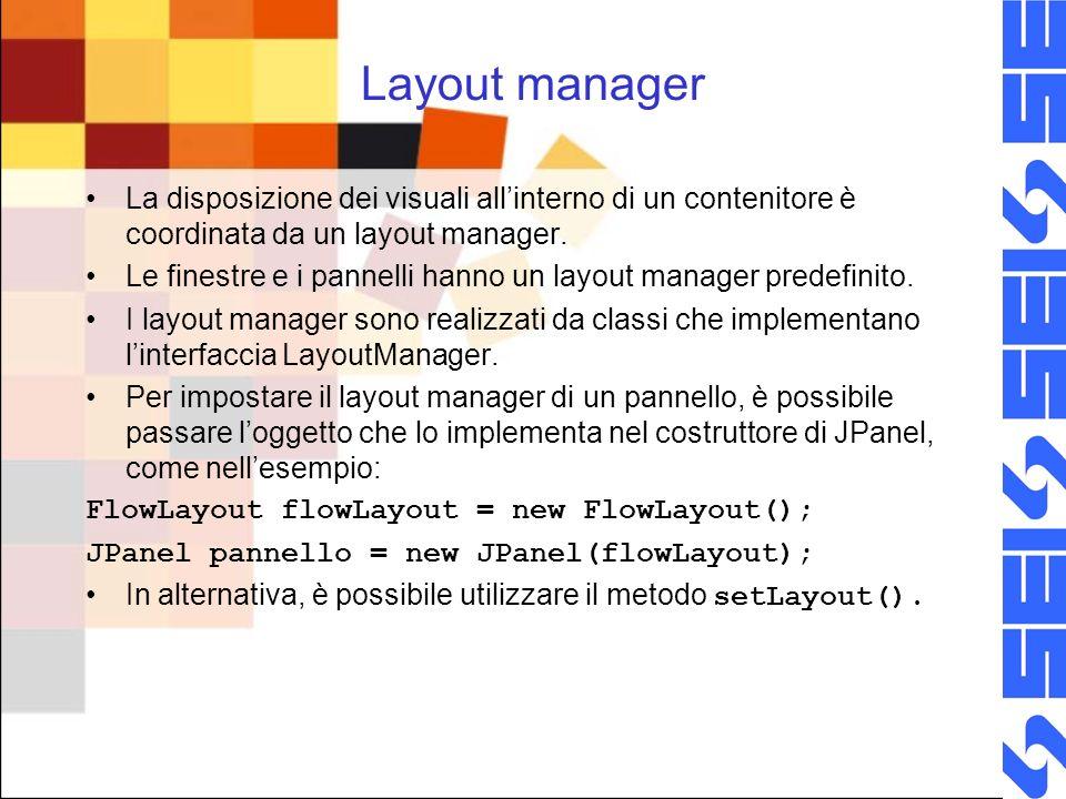 Layout manager La disposizione dei visuali allinterno di un contenitore è coordinata da un layout manager. Le finestre e i pannelli hanno un layout ma