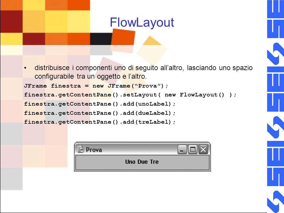 FlowLayout distribuisce i componenti uno di seguito allaltro, lasciando uno spazio configurabile tra un oggetto e laltro. JFrame finestra = new JFrame