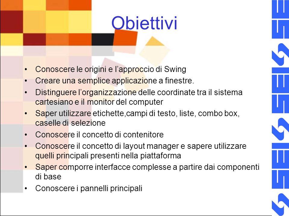 Obiettivi Conoscere le origini e lapproccio di Swing Creare una semplice applicazione a finestre. Distinguere lorganizzazione delle coordinate tra il