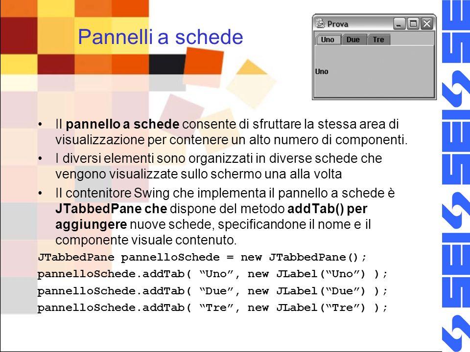 Pannelli a schede Il pannello a schede consente di sfruttare la stessa area di visualizzazione per contenere un alto numero di componenti. I diversi e
