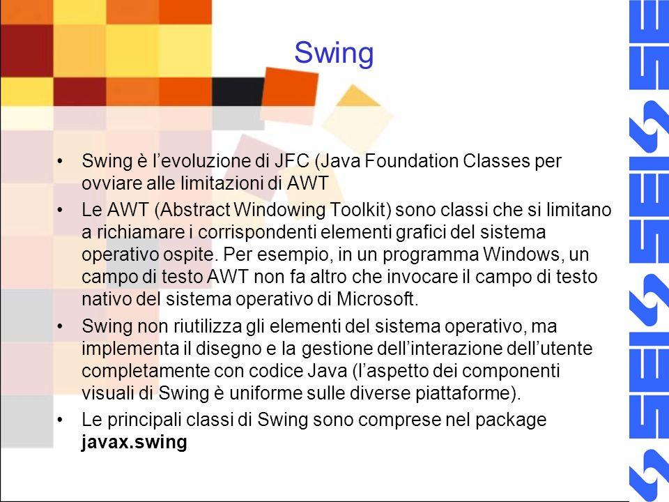 Swing Swing è levoluzione di JFC (Java Foundation Classes per ovviare alle limitazioni di AWT Le AWT (Abstract Windowing Toolkit) sono classi che si l
