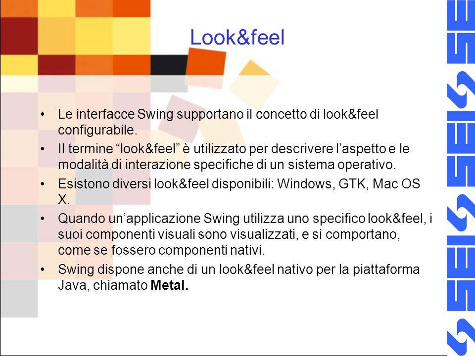 Look&feel Le interfacce Swing supportano il concetto di look&feel configurabile. Il termine look&feel è utilizzato per descrivere laspetto e le modali