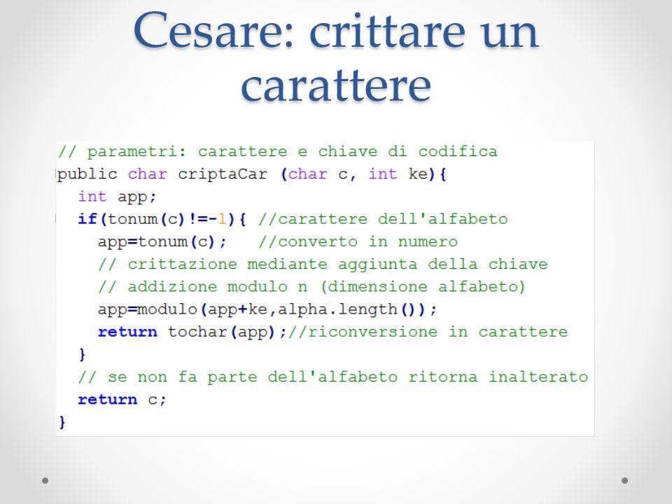 Cesare: crittare un carattere