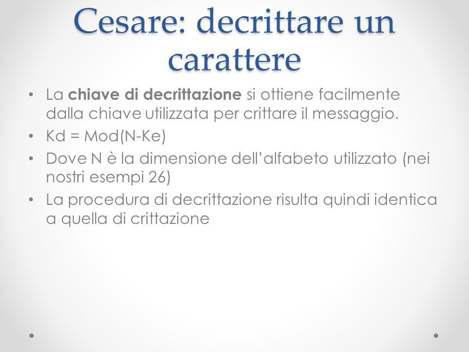 Cesare: decrittare un carattere La chiave di decrittazione si ottiene facilmente dalla chiave utilizzata per crittare il messaggio. Kd = Mod(N-Ke) Dov