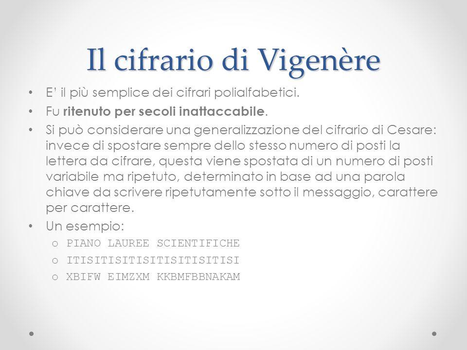 Il cifrario di Vigenère E il più semplice dei cifrari polialfabetici. Fu ritenuto per secoli inattaccabile. Si può considerare una generalizzazione de