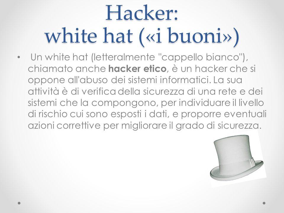 Hacker: white hat («i buoni») Un white hat (letteralmente