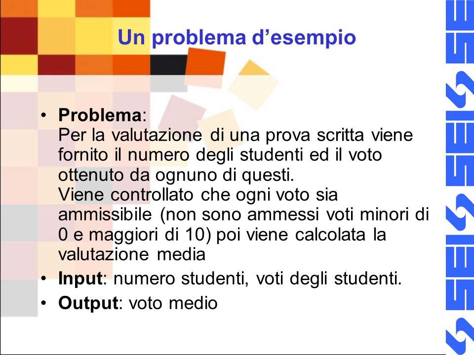 Un problema desempio Problema: Per la valutazione di una prova scritta viene fornito il numero degli studenti ed il voto ottenuto da ognuno di questi.