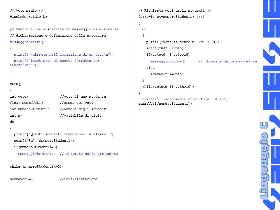/* Voto medio */ #include /* Funzione che visualizza un messaggio di errore */ // dichiarazione e definizione della procedura messaggioErrore() { printf( \nErrore nell immissione di un dato\n ); printf( Immetterlo di nuovo.