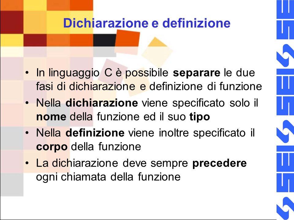 Dichiarazione e definizione In linguaggio C è possibile separare le due fasi di dichiarazione e definizione di funzione Nella dichiarazione viene specificato solo il nome della funzione ed il suo tipo Nella definizione viene inoltre specificato il corpo della funzione La dichiarazione deve sempre precedere ogni chiamata della funzione