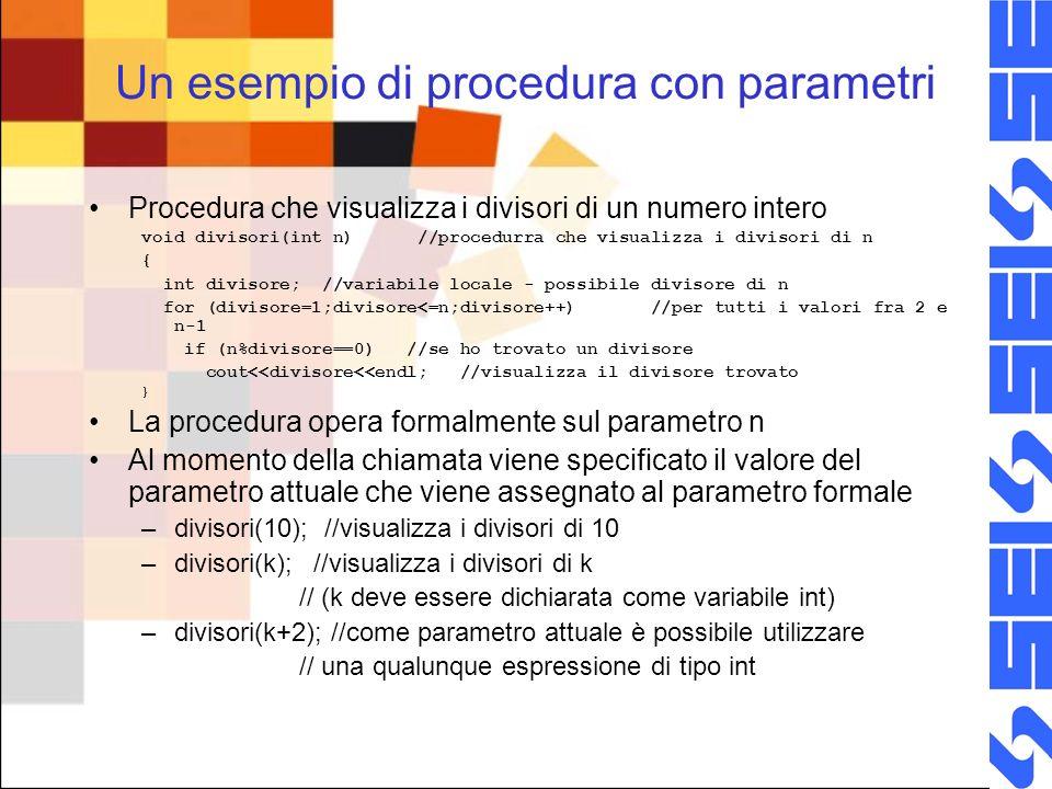 Un esempio di procedura con parametri Procedura che visualizza i divisori di un numero intero void divisori(int n) //procedurra che visualizza i divisori di n { int divisore; //variabile locale - possibile divisore di n for (divisore=1;divisore<=n;divisore++) //per tutti i valori fra 2 e n-1 if (n%divisore==0) //se ho trovato un divisore cout<<divisore<<endl; //visualizza il divisore trovato } La procedura opera formalmente sul parametro n Al momento della chiamata viene specificato il valore del parametro attuale che viene assegnato al parametro formale –divisori(10); //visualizza i divisori di 10 –divisori(k); //visualizza i divisori di k // (k deve essere dichiarata come variabile int) –divisori(k+2); //come parametro attuale è possibile utilizzare // una qualunque espressione di tipo int