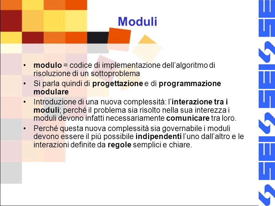 Moduli modulo = codice di implementazione dellalgoritmo di risoluzione di un sottoproblema Si parla quindi di progettazione e di programmazione modulare Introduzione di una nuova complessità: linterazione tra i moduli; perché il problema sia risolto nella sua interezza i moduli devono infatti necessariamente comunicare tra loro.
