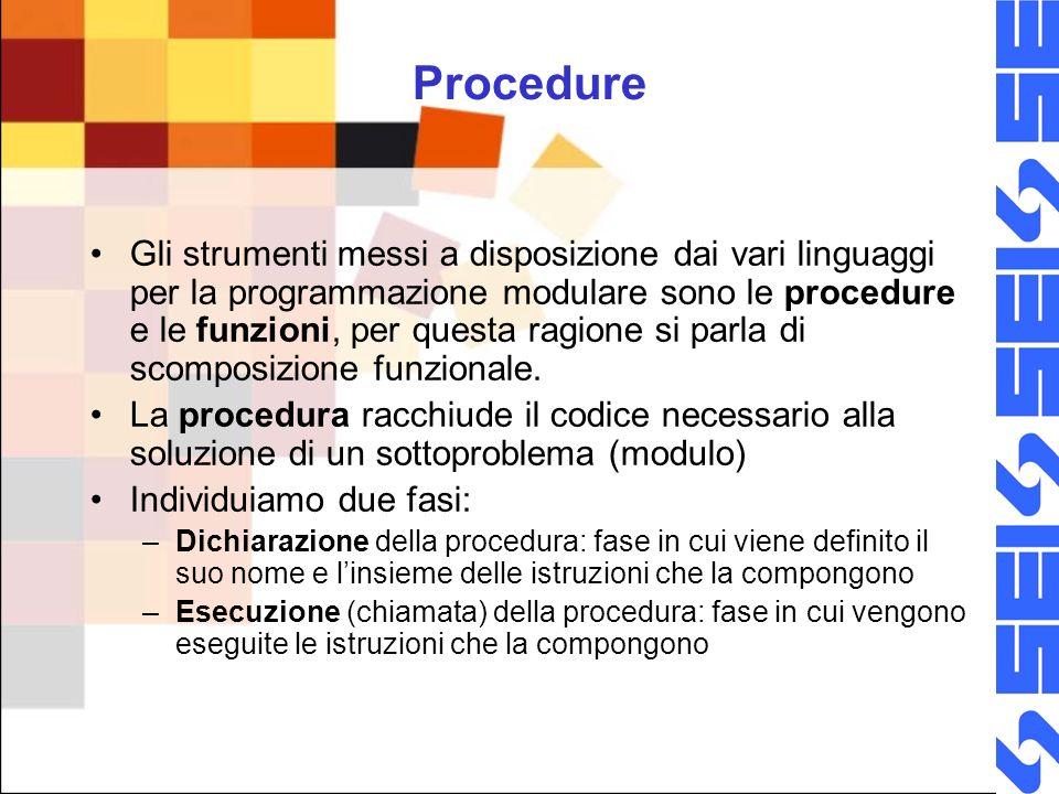 Dichiarazione e definizione di procedura E la fase in cui viene definito il nome ( ) e linsieme delle istruzioni Pseudolinguaggio Procedura Fineprocedura Linguaggio C () { }
