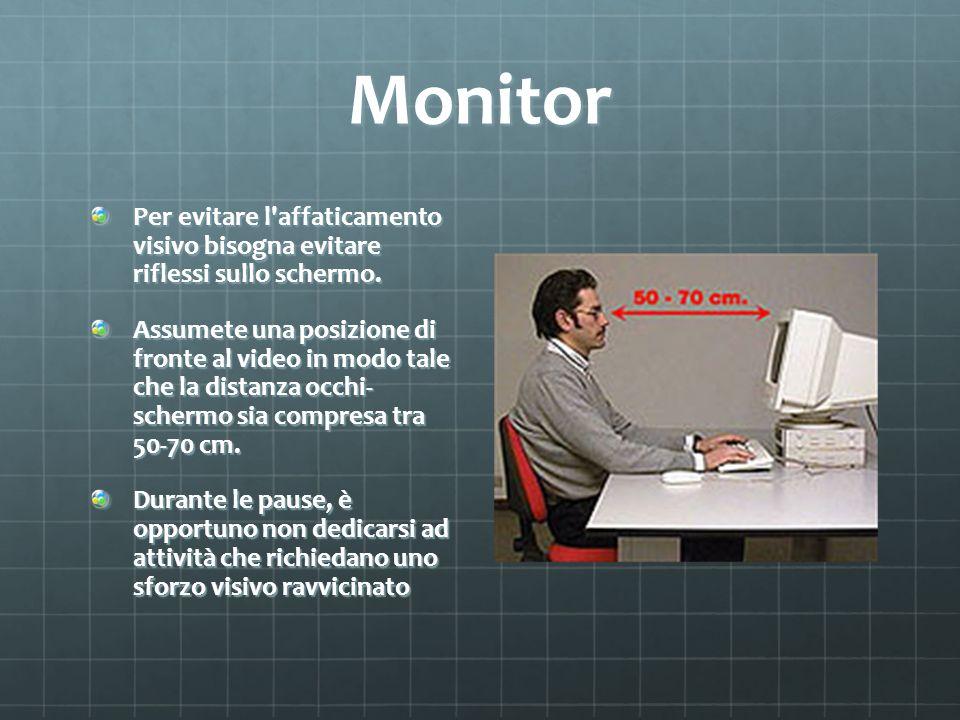 Monitor Per evitare l'affaticamento visivo bisogna evitare riflessi sullo schermo. Assumete una posizione di fronte al video in modo tale che la dista