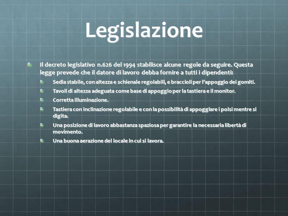 Legislazione Il decreto legislativo n.626 del 1994 stabilisce alcune regole da seguire. Questa legge prevede che il datore di lavoro debba fornire a t