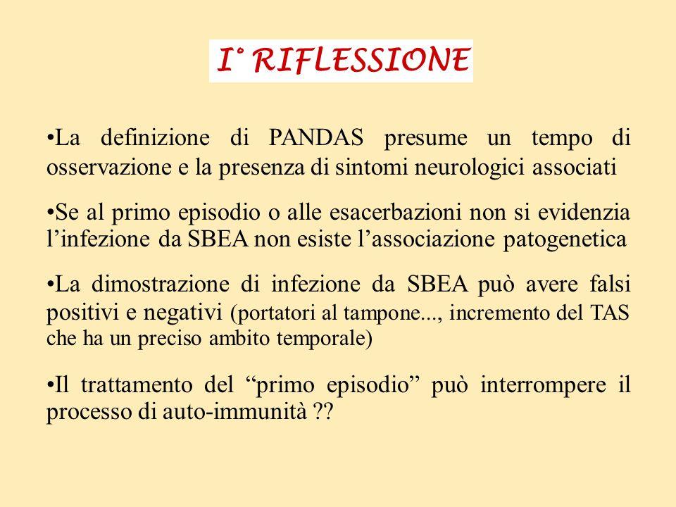 I° RIFLESSIONE La definizione di PANDAS presume un tempo di osservazione e la presenza di sintomi neurologici associati Se al primo episodio o alle es