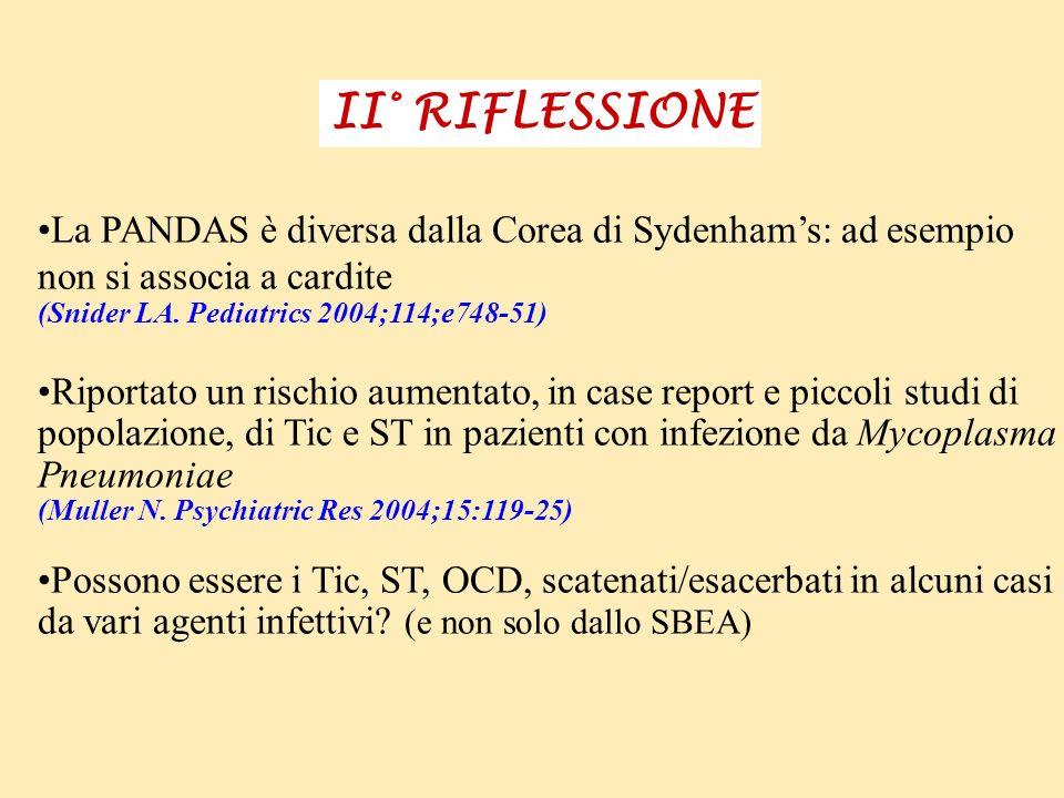 II° RIFLESSIONE La PANDAS è diversa dalla Corea di Sydenhams: ad esempio non si associa a cardite (Snider LA. Pediatrics 2004;114;e748-51) Riportato u