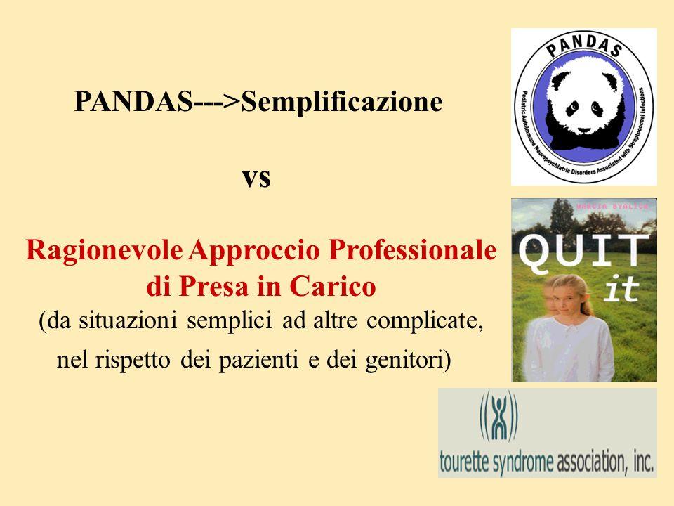 PANDAS--->Semplificazione vs Ragionevole Approccio Professionale di Presa in Carico (da situazioni semplici ad altre complicate, nel rispetto dei pazi