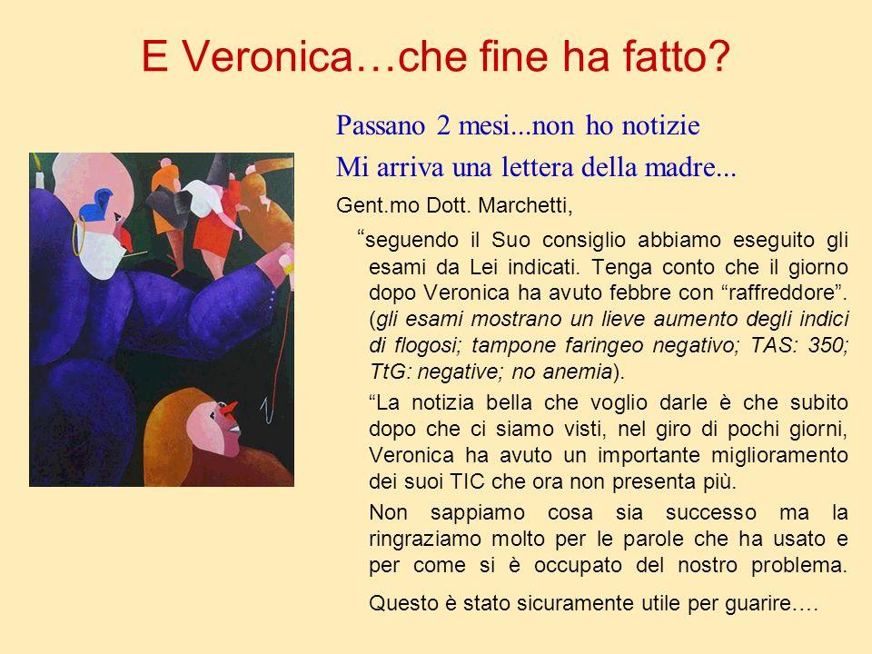 E Veronica…che fine ha fatto? Passano 2 mesi...non ho notizie Mi arriva una lettera della madre... Gent.mo Dott. Marchetti, seguendo il Suo consiglio