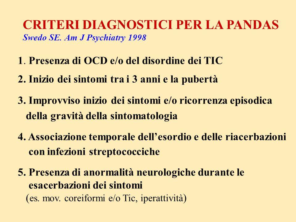CRITERI DIAGNOSTICI PER LA PANDAS Swedo SE. Am J Psychiatry 1998 1. Presenza di OCD e/o del disordine dei TIC 2. Inizio dei sintomi tra i 3 anni e la