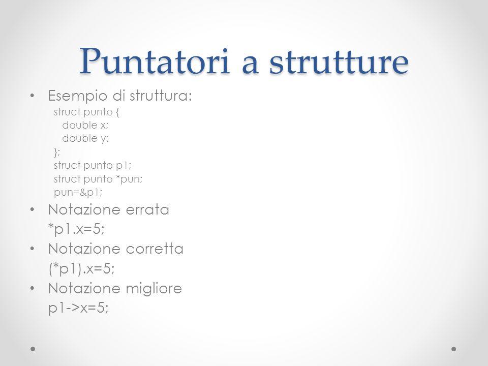 Puntatori a strutture Esempio di struttura: struct punto { double x; double y; }; struct punto p1; struct punto *pun; pun=&p1; Notazione errata *p1.x=