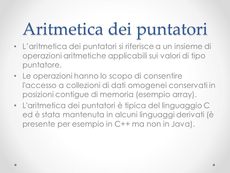 Aritmetica dei puntatori Laritmetica dei puntatori si riferisce a un insieme di operazioni aritmetiche applicabili sui valori di tipo puntatore. Le op