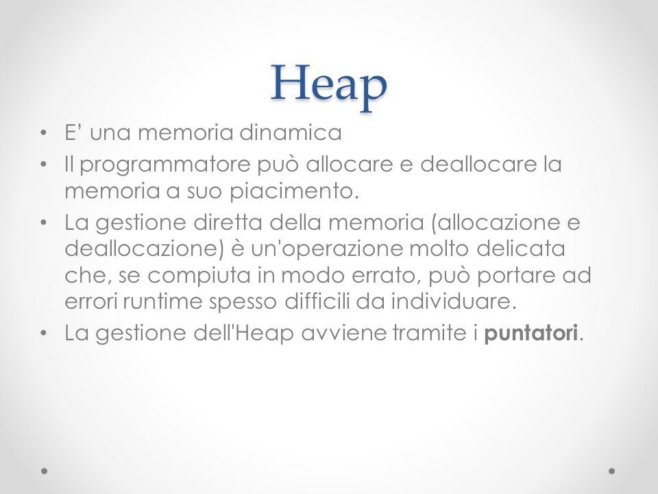 Heap E una memoria dinamica Il programmatore può allocare e deallocare la memoria a suo piacimento. La gestione diretta della memoria (allocazione e d