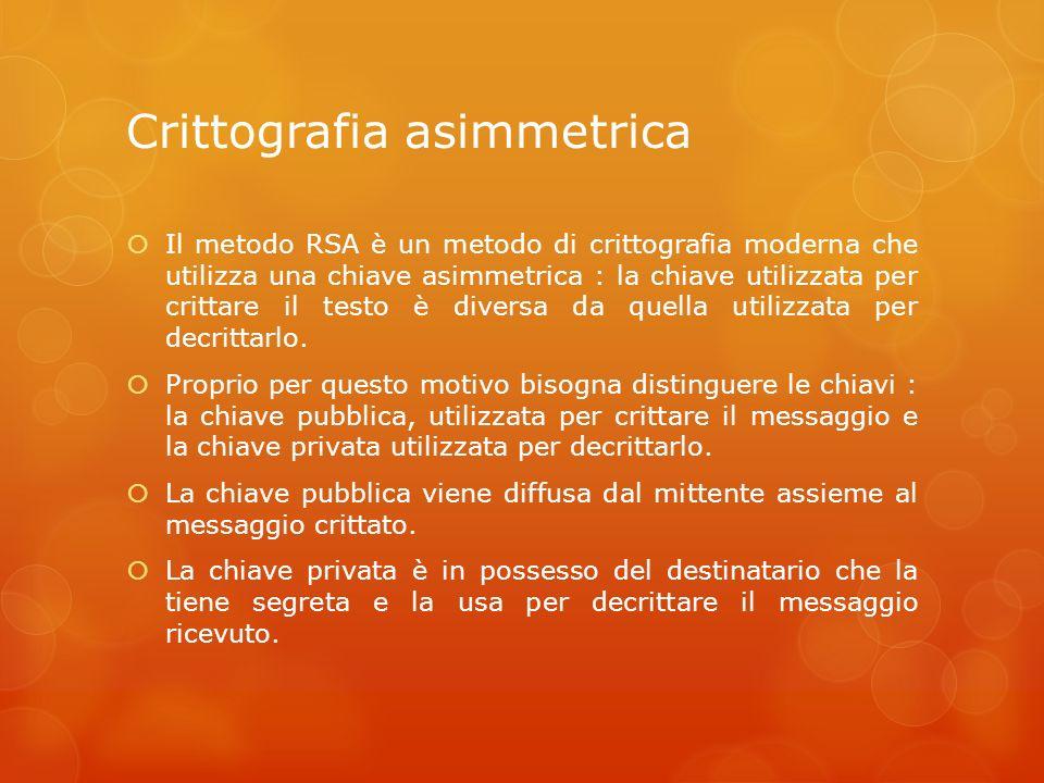 Crittografia asimmetrica Il metodo RSA è un metodo di crittografia moderna che utilizza una chiave asimmetrica : la chiave utilizzata per crittare il