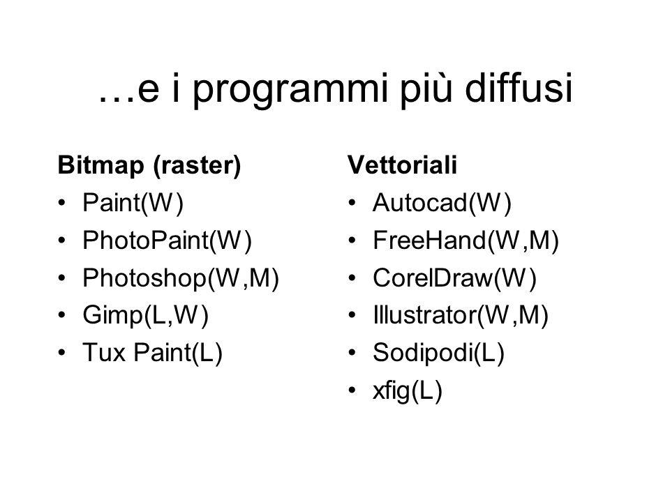 …e i programmi più diffusi Bitmap (raster) Paint(W) PhotoPaint(W) Photoshop(W,M) Gimp(L,W) Tux Paint(L) Vettoriali Autocad(W) FreeHand(W,M) CorelDraw(W) Illustrator(W,M) Sodipodi(L) xfig(L)