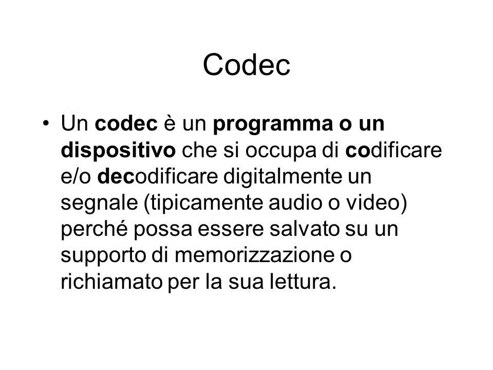 Codec Un codec è un programma o un dispositivo che si occupa di codificare e/o decodificare digitalmente un segnale (tipicamente audio o video) perché possa essere salvato su un supporto di memorizzazione o richiamato per la sua lettura.