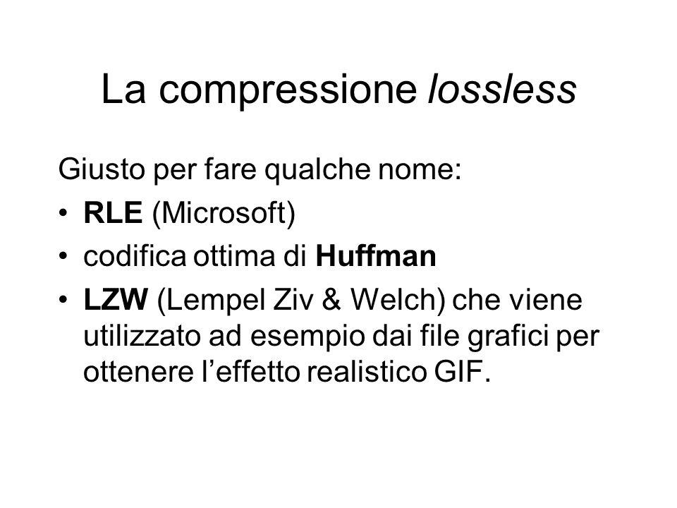 La compressione lossless Giusto per fare qualche nome: RLE (Microsoft) codifica ottima di Huffman LZW (Lempel Ziv & Welch) che viene utilizzato ad esempio dai file grafici per ottenere leffetto realistico GIF.