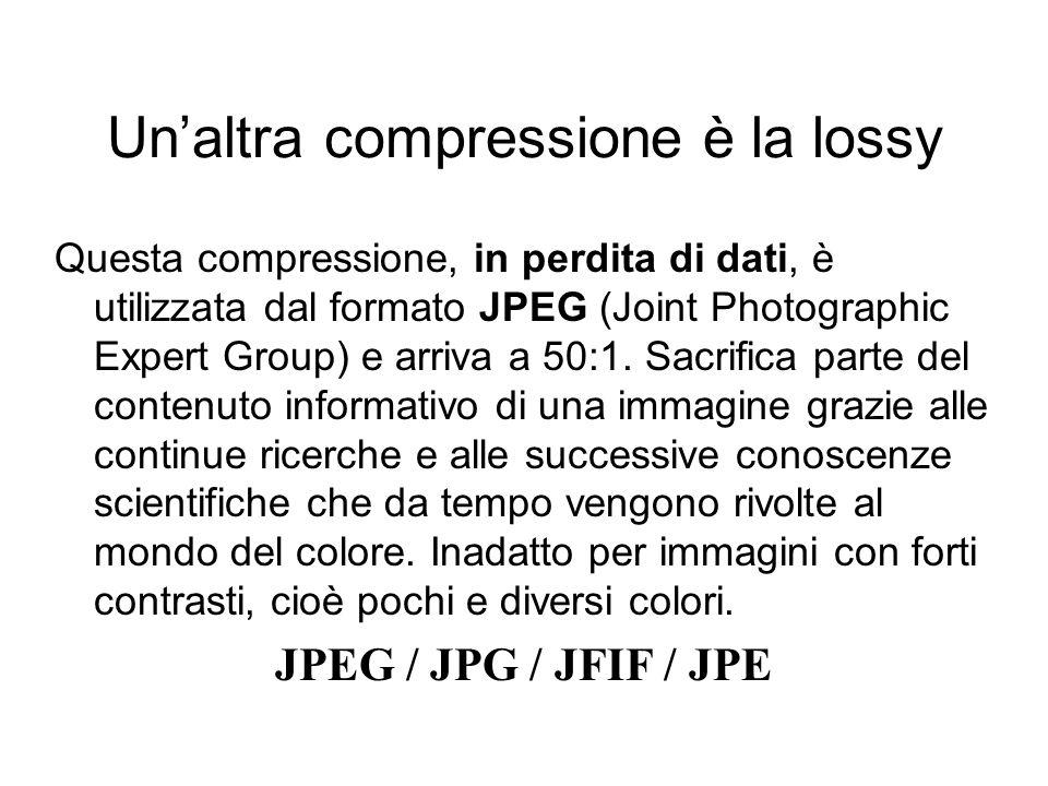 Unaltra compressione è la lossy Questa compressione, in perdita di dati, è utilizzata dal formato JPEG (Joint Photographic Expert Group) e arriva a 50:1.