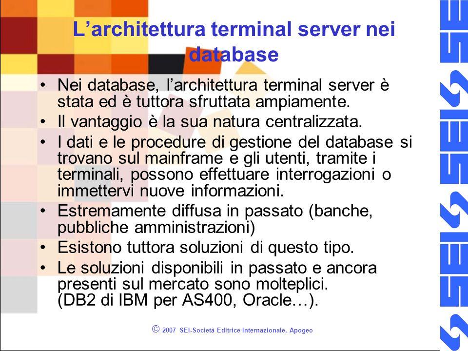 © 2007 SEI-Società Editrice Internazionale, Apogeo Larchitettura terminal server nei database Nei database, larchitettura terminal server è stata ed è