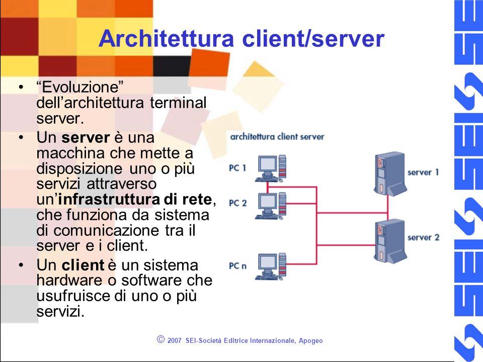 © 2007 SEI-Società Editrice Internazionale, Apogeo Architettura client/server Evoluzione dellarchitettura terminal server. Un server è una macchina ch
