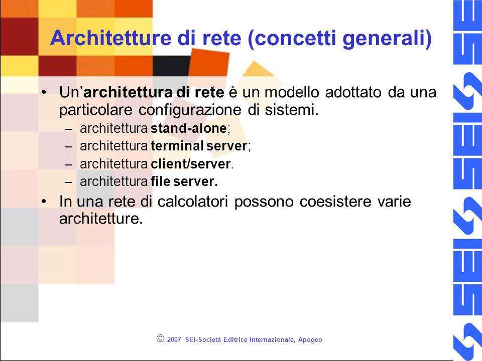 © 2007 SEI-Società Editrice Internazionale, Apogeo Architetture di rete (concetti generali) Unarchitettura di rete è un modello adottato da una partic