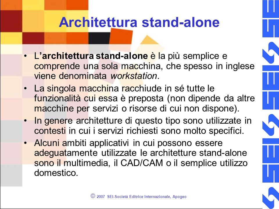 © 2007 SEI-Società Editrice Internazionale, Apogeo Architettura stand-alone Larchitettura stand-alone è la più semplice e comprende una sola macchina,