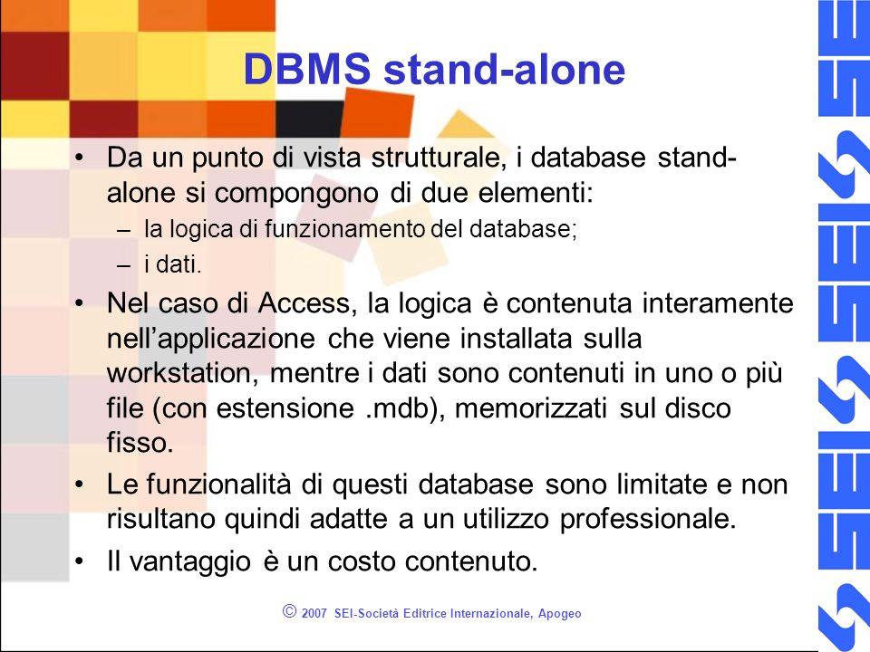 © 2007 SEI-Società Editrice Internazionale, Apogeo DBMS stand-alone Da un punto di vista strutturale, i database stand- alone si compongono di due ele