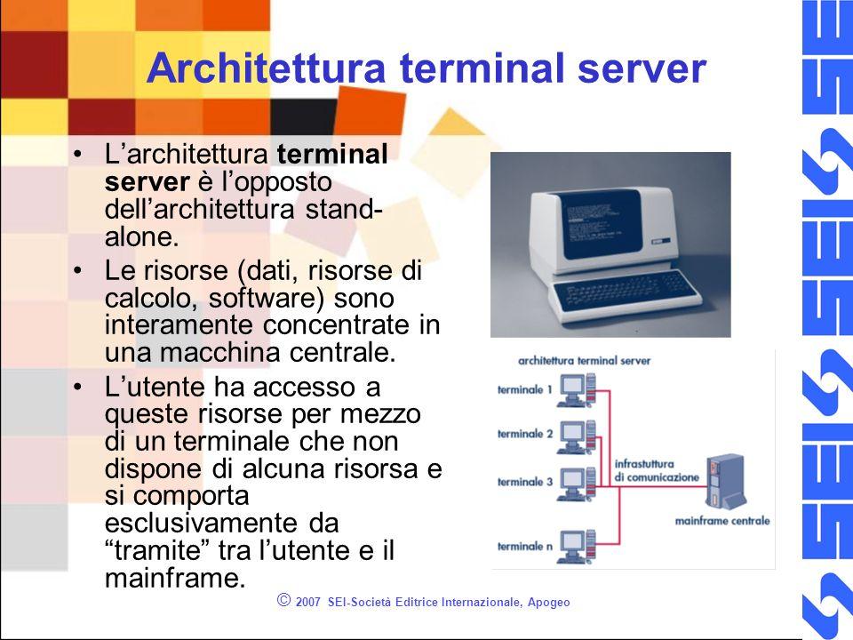 © 2007 SEI-Società Editrice Internazionale, Apogeo Architettura terminal server Larchitettura terminal server è lopposto dellarchitettura stand- alone