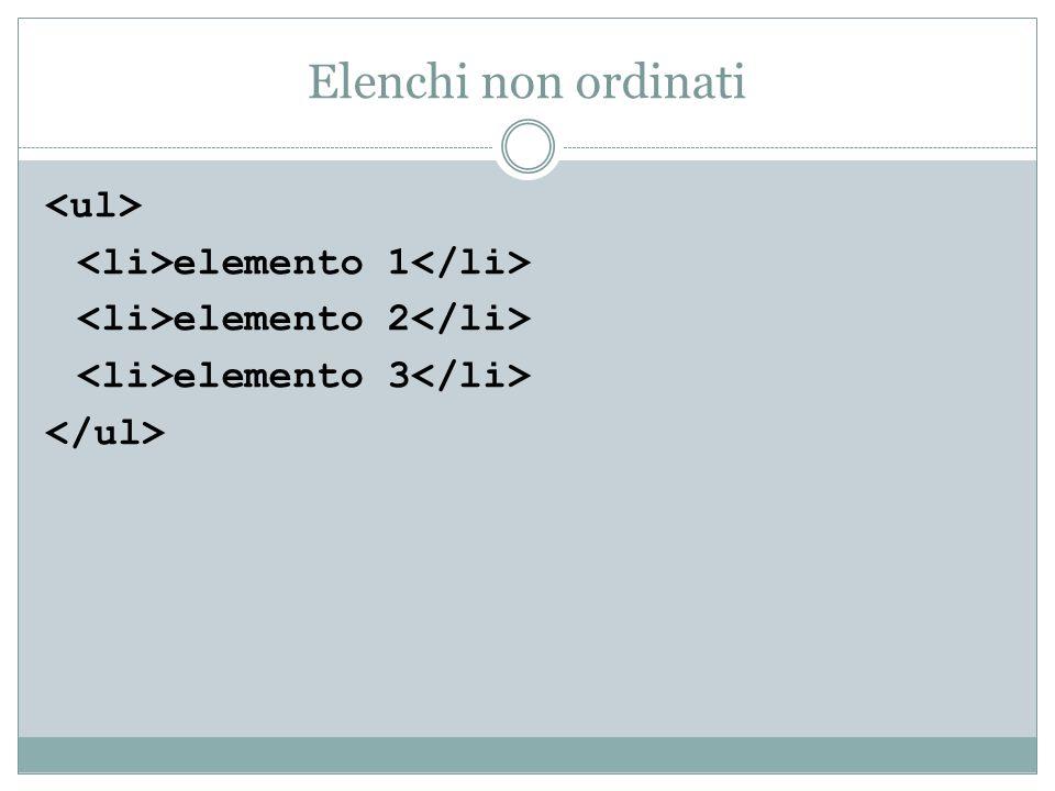 Elenchi non ordinati elemento 1 elemento 2 elemento 3