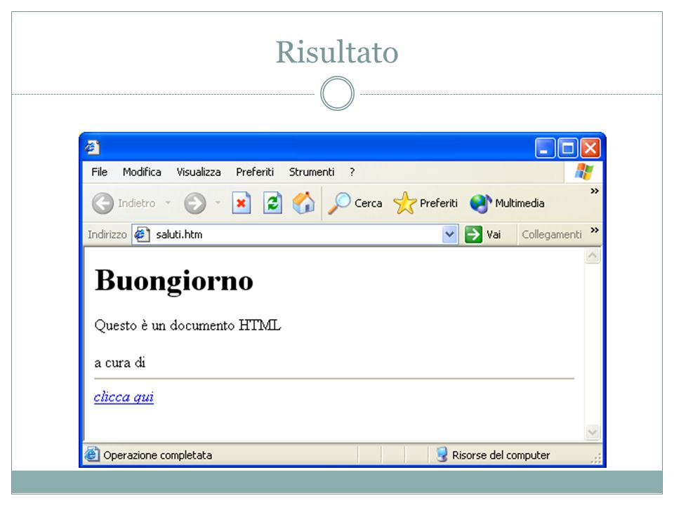 Acuni esempi di tag HTML...Racchiude lintero documento HTML....