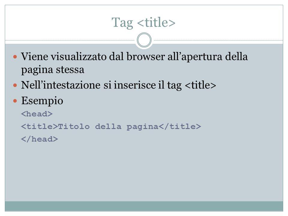 Tag Viene visualizzato dal browser allapertura della pagina stessa Nellintestazione si inserisce il tag Esempio Titolo della pagina