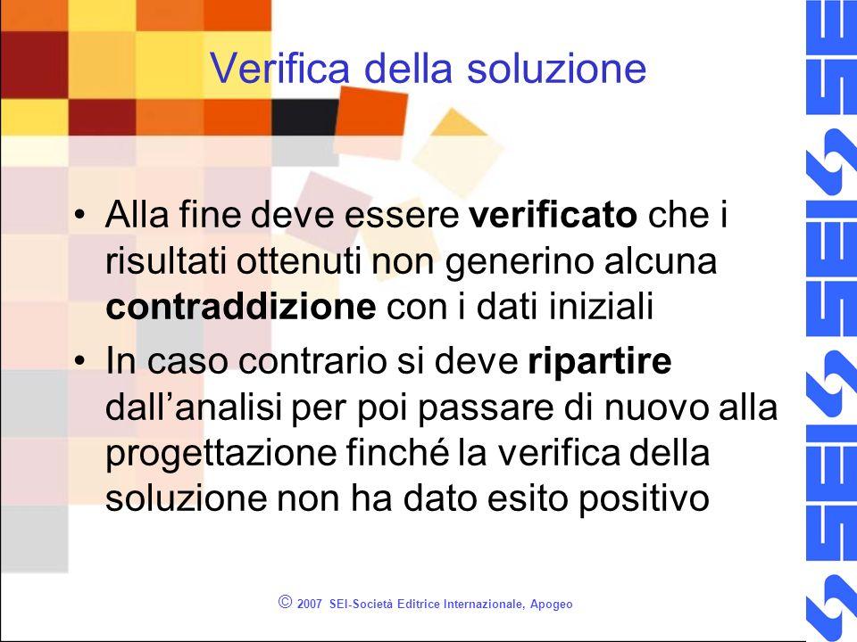 © 2007 SEI-Società Editrice Internazionale, Apogeo Verifica della soluzione Alla fine deve essere verificato che i risultati ottenuti non generino alc