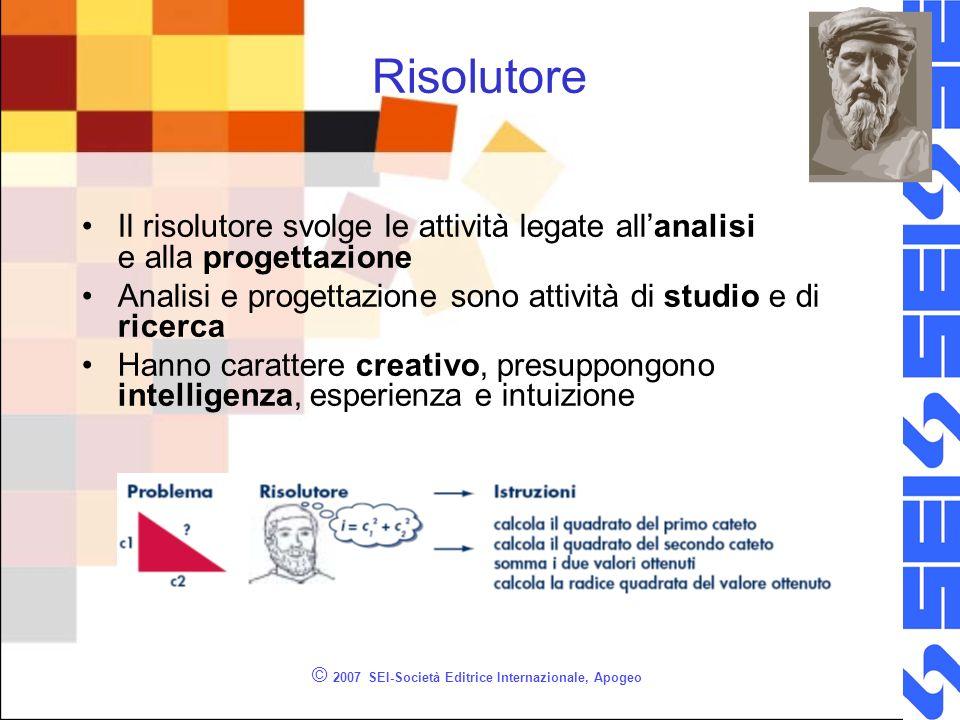 © 2007 SEI-Società Editrice Internazionale, Apogeo Risolutore Il risolutore svolge le attività legate allanalisi e alla progettazione Analisi e proget