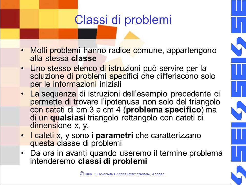 © 2007 SEI-Società Editrice Internazionale, Apogeo Classi di problemi Molti problemi hanno radice comune, appartengono alla stessa classe Uno stesso e