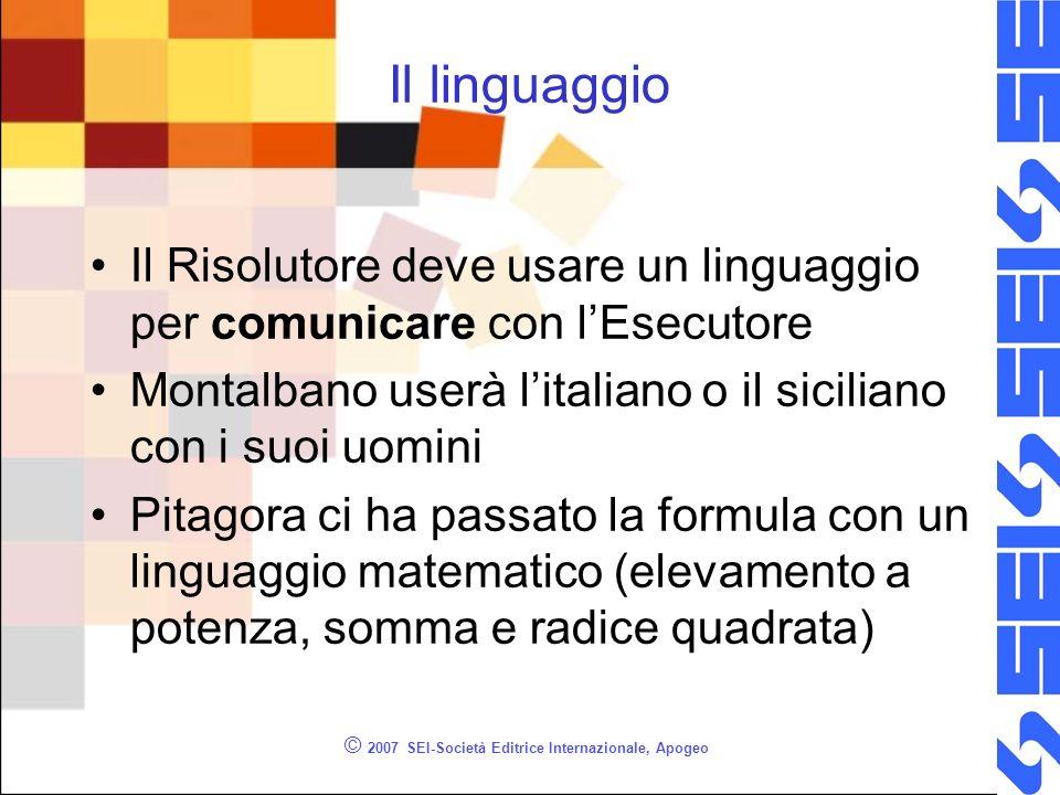 © 2007 SEI-Società Editrice Internazionale, Apogeo Il linguaggio Il Risolutore deve usare un linguaggio per comunicare con lEsecutore Montalbano userà